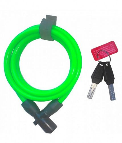 Замок ONGUARD Lightweight Key Coil Cable Lock, трос 150см x8мм, Зеленый